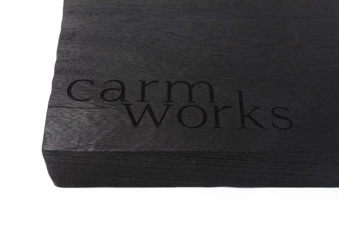 CarmWorks Burn logo on wood